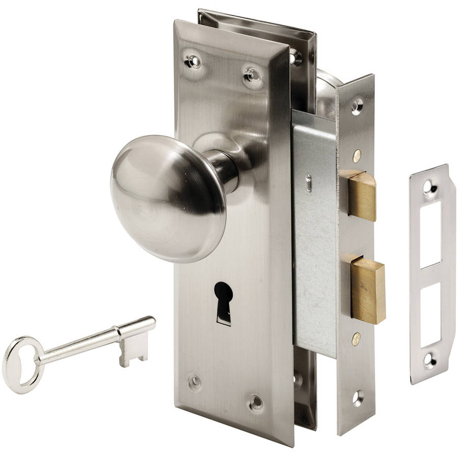 "Prime Line E2330 2.25"" x 7"" x 2.25"" Satin Nickel Keyed Mortise Lock Set"