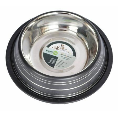 Iconic Pet Color Splash Stripe Non-Skid Pet Bowl, 24 Oz, Black ()