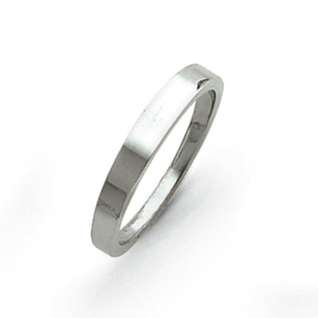 14k White Gold Solid Flat edge 3mm tapered polished Band Ring - Ring Size: 4 to (White Gold Flat Edge Band)