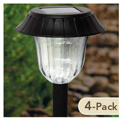 Sterno Home TV23048BK4 LED Solar Path Light Set, Black Resin, 4-Pk.