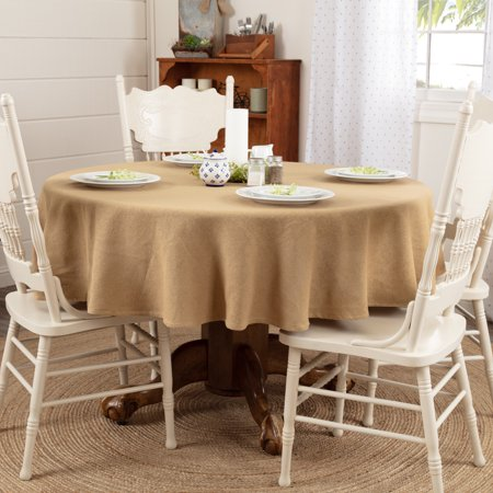 Natural Tan Farmhouse Thanksgiving Tabletop Kitchen Burlap Merlot Cotton Cotton Burlap Solid Color Round 70