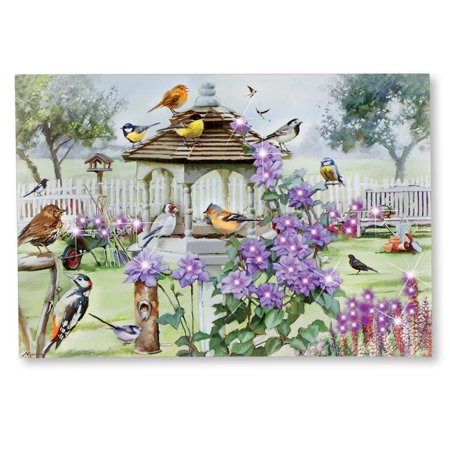 Bird Table Canvas Wall Art Decor with LED Lights - 47 Color Changing Fiber Optic Lights - Birds on Birdfeeder - Flower Garden Surroundings - Hooks on Back for Easy Hanging Garden Collection Back Cushion Canvas