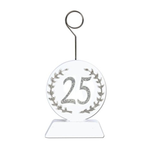 Silver Glittered 25 Photo/Balloon Holder Party Accessory (1 count)