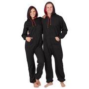 Footed Pajamas - Black & Red Adult Footless Hoodie Onesie