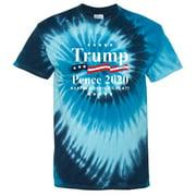 Men's Trump Pence 2020 Flag Blue Tie Dye T-Shirt Large Blue