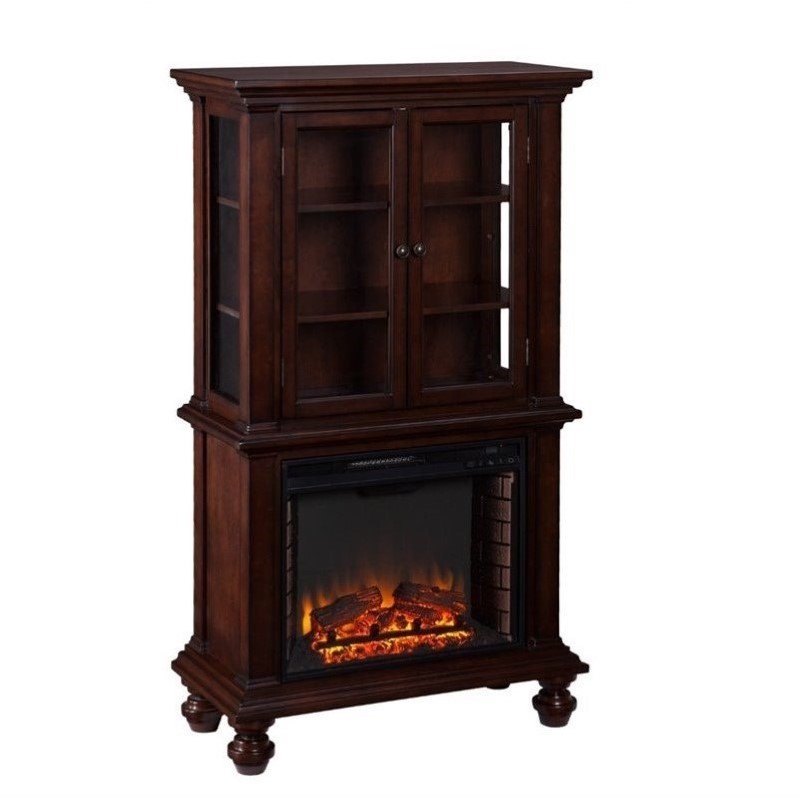 Southern Enterprises Townsend China Cabinet with Fireplace in Espresso by Southern Enterprises