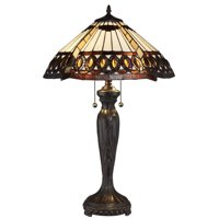 Serena d'italia Tiffany 2 light Amberjack 23 in. Bronze Table Lamp