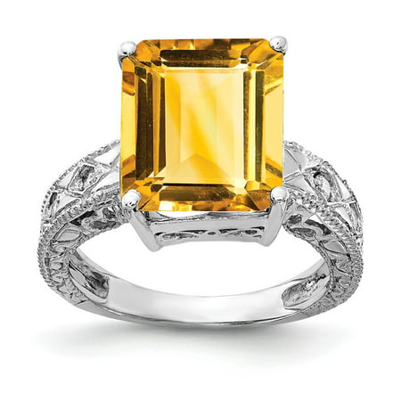 Solid 14k White Gold 12x10mm Emerald Cut Citrine Yellow November Gemstone Diamond Engagement Ring Size 5 (.068 cttw.)