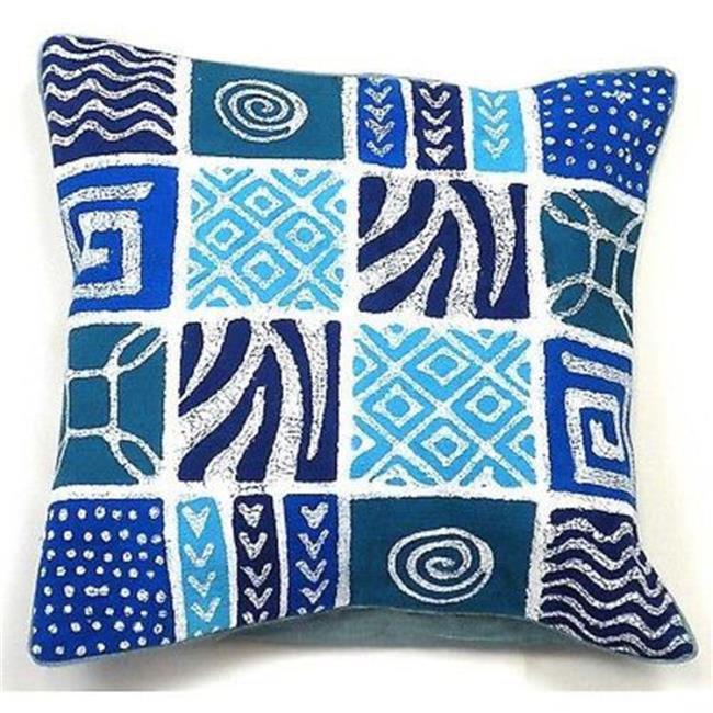 Tonga Textiles Handmade Patches Batik Cushion Cover, Blue