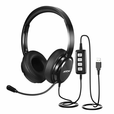 1b14b052db0 Mpow 218 USB Headset/3.5mm Computer Headset, with Microphone, Volume/  Speaker Control and Noise Reduction Sound Card, for Chatting, Call Center,  ...