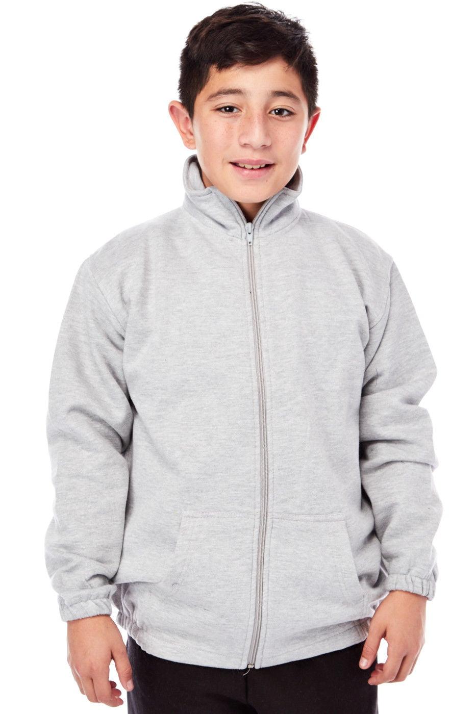Boys Kids Mock Neck Fleece Zip Up Sweater Jacket 102 (XXS(3-4), Grey)