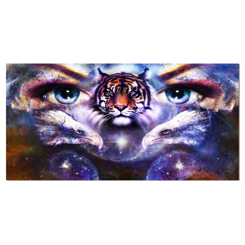Design Art Tiger and Eagles Eyes Collage Animal Graphic Art on Wrapped Canvas