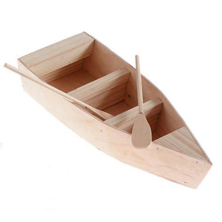 Wood Boat with Oars - 12 inches