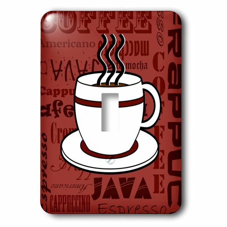 3dRose Coffee Lover Gift - Coffee Words Print - Red, 2 Plug Outlet Cover