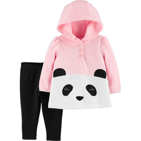 Child Of Mine by Carter's Toddler Girl Fleece Hooded Long Sleeve Top & Pant, 2pc Outfit Set ()
