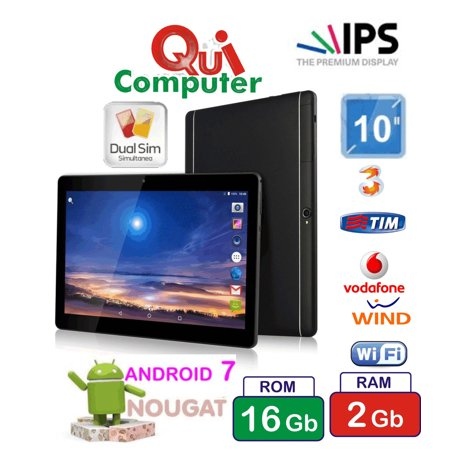 PC 10 POLLICI IPS ANDROID 7 QUAD CORE RAM 2 GB ROM 16 GB 3G INTEGRATO