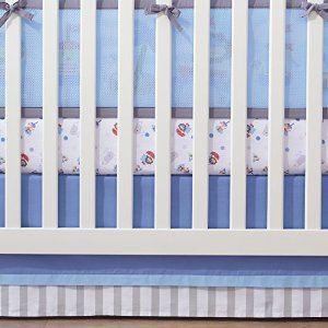 BreathableBaby Cotton Crib Skirt, Blue/Grey Multi-Colored