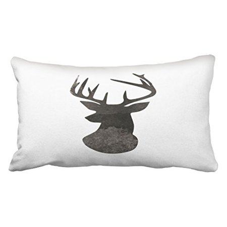 WinHome Deer Head silhouette Modern Watercolor Black And White Art Polyester 20 x 30 Inch Rectangle Throw Pillow Covers With Hidden Zipper Home Sofa Cushion Decorative Pillowcases ()