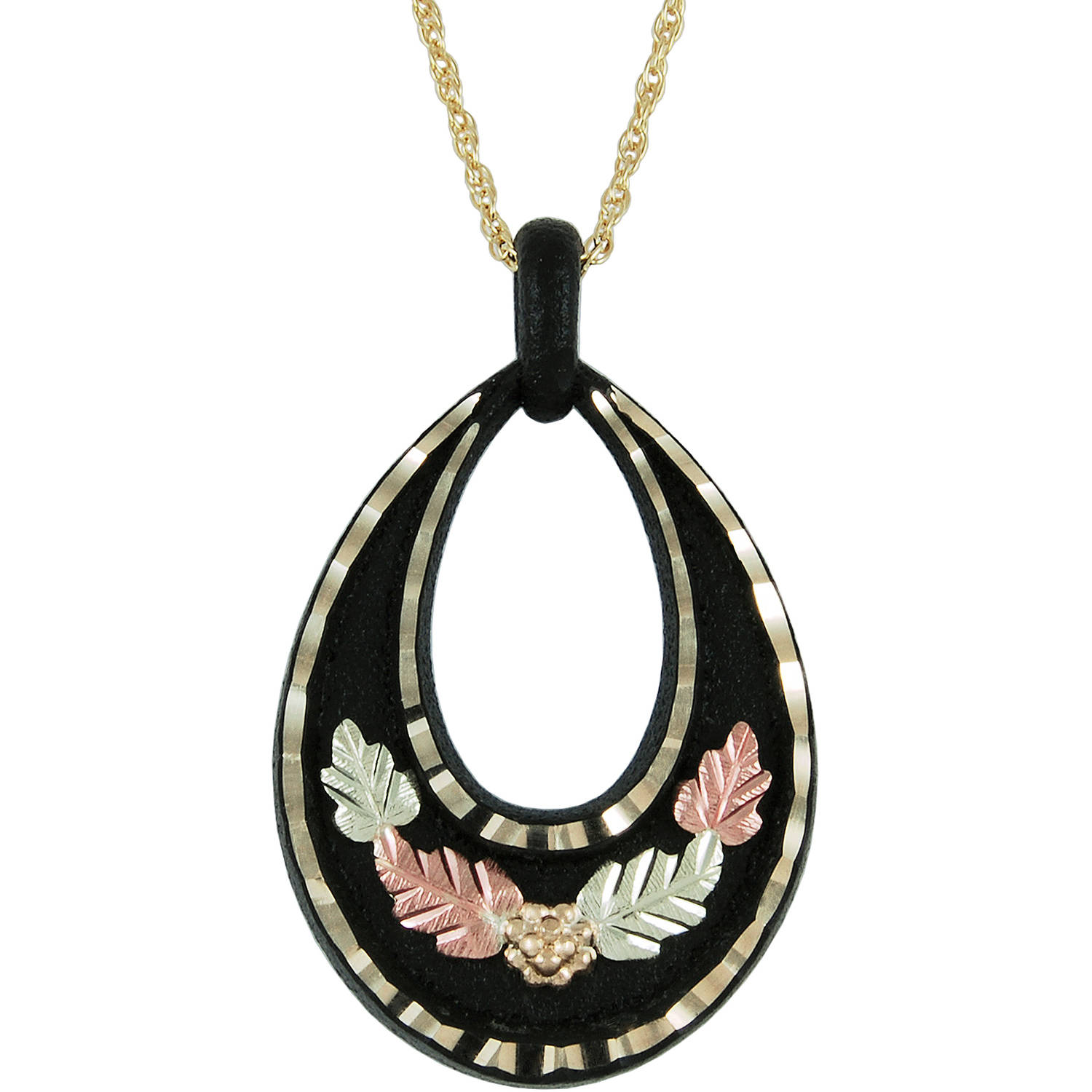 Black Hills Gold Black Powder-Coated Gold-Tone 10kt and 12kt Gold Accented Teardrop-Shaped Pendant, 18""