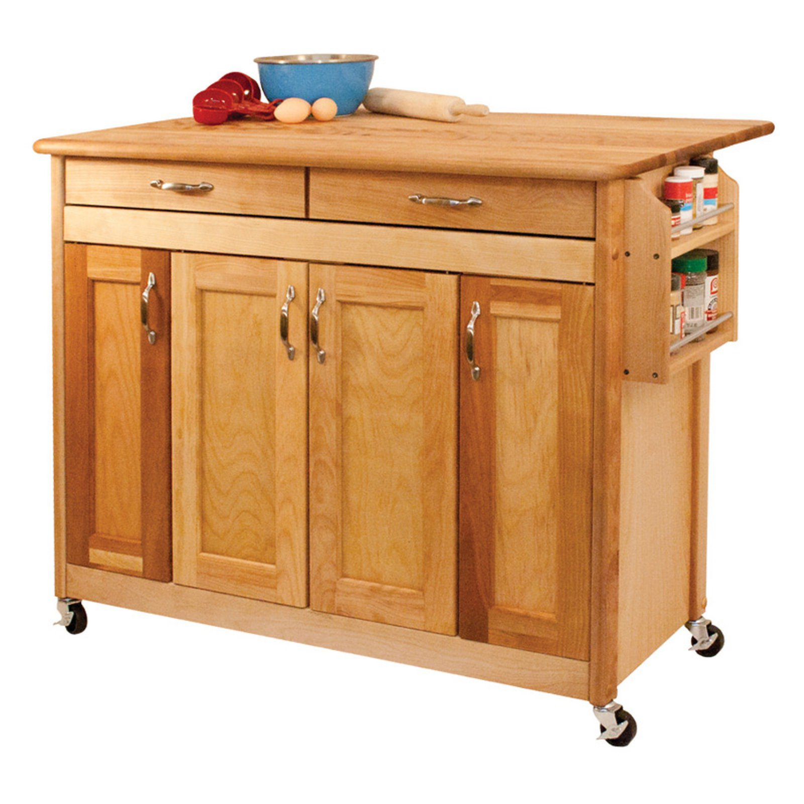 Catskill Craftsman Butcher Block Island with Panel Doors and Drop Leaf Portable Kitchen... by Catskill Craftsmen
