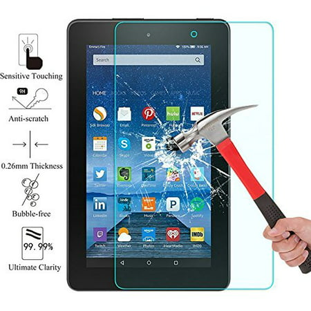 (2017 Amazon Fire 7 Screen Glass Protector, EpicGadget(TM) For 7th Generation 2017 Fire 7 Ultra HD Clear Anti Bubble Anti Fingerprint Anti Scratch 9H Hardness Tempered Glass Screen Protector)
