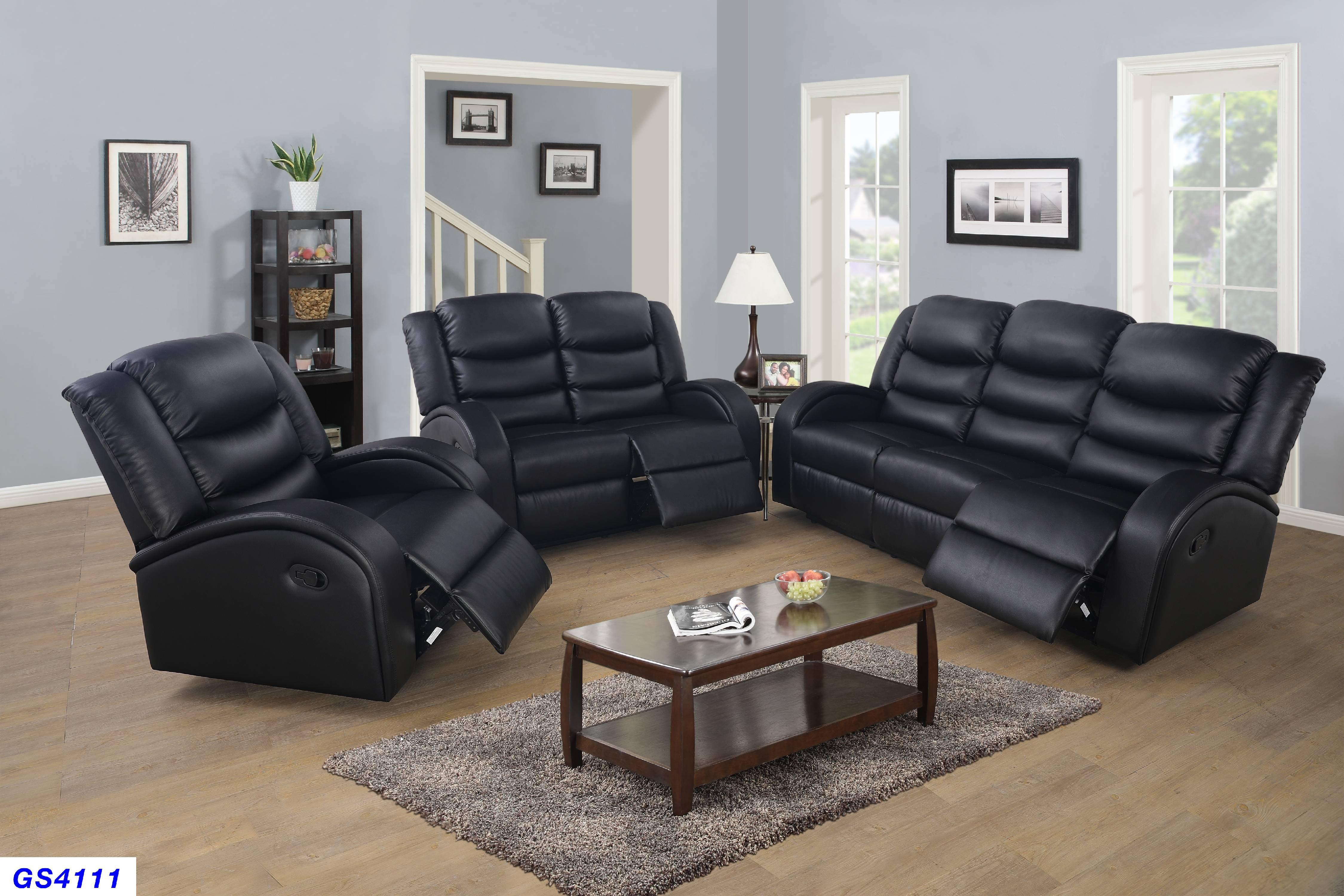 Lorenze Black Recliner 3-Pieces Sofa Set - Walmart.com