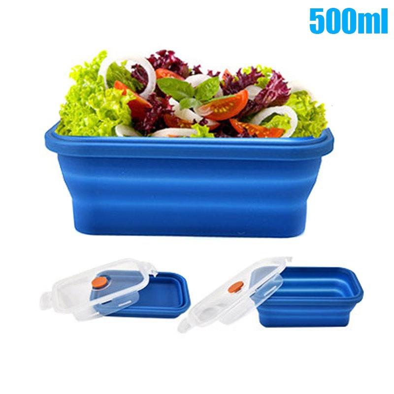Silicone Bento Box Folding Lunch Bowl Food Storage Container Boxes for Outdoor Travel