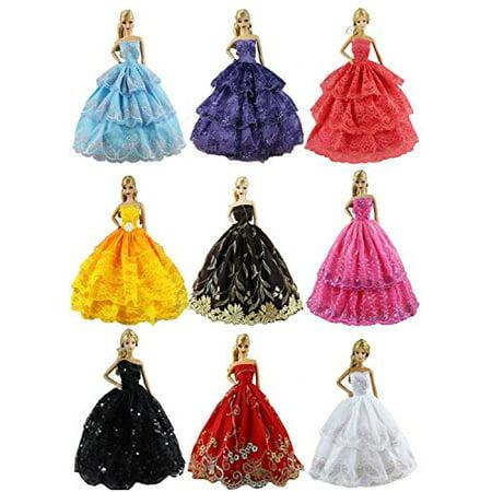 ZITA ELEMENT Lot 6 PCS Fashion Handmade Clothes Dress for Barbie Doll XMAS GIFT - Christmas Barbie