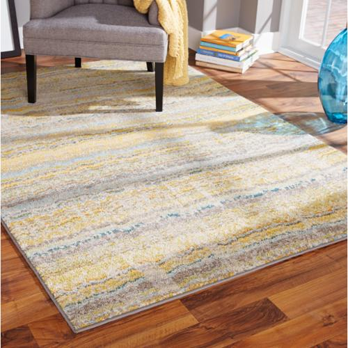 Style Haven Distressed Ikat Yellow/ Grey Rug (5'3 x 7'6)