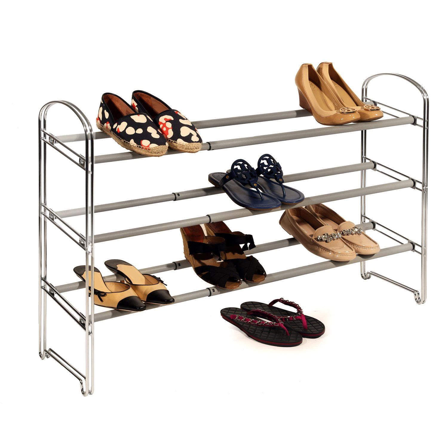 3-Tier Expandable Shoe Rack, Chrome, Store up to 21 pairs of shoes per unit By Seville Classics
