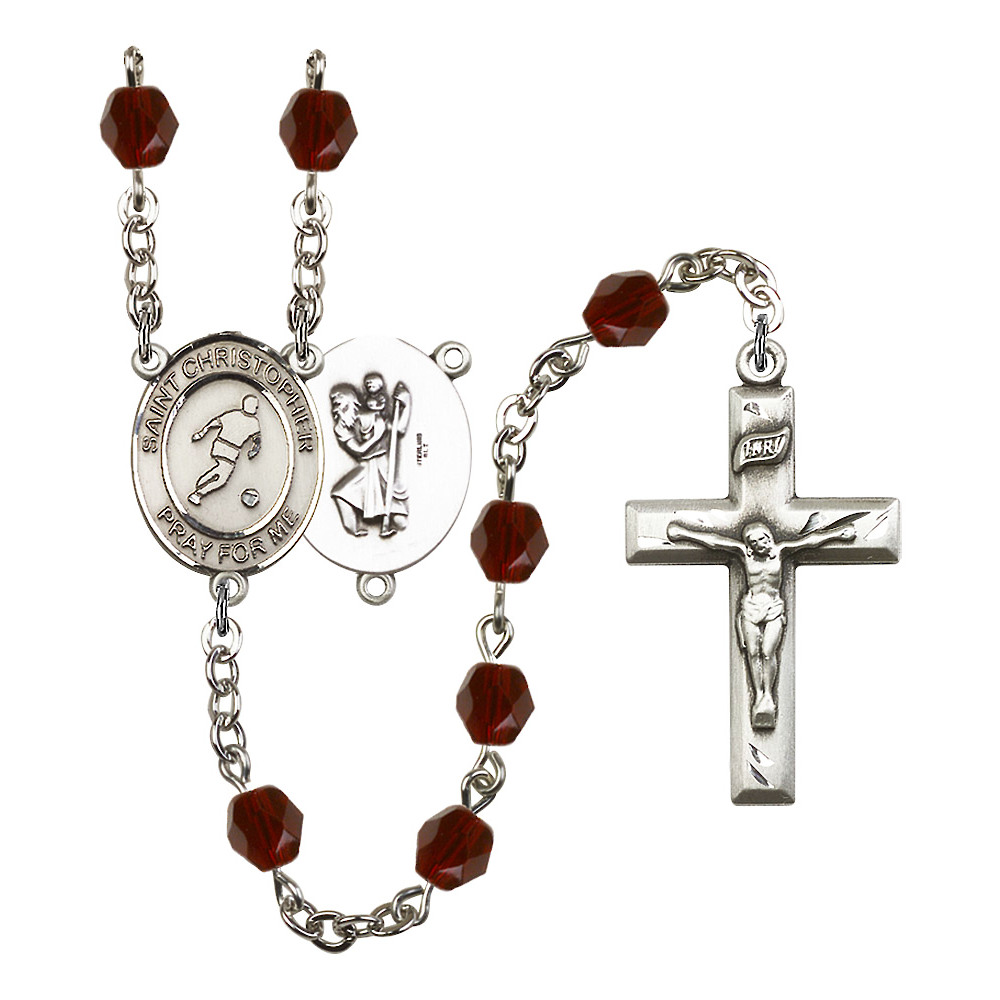 St. Christopher/Soccer Silver-Plated Rosary 6mm January Red Fire Polished Beads Crucifix Size 1 3/8 x 3/4 medal charm