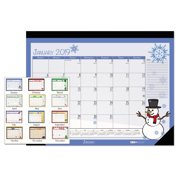 House of Doolittle 100% Recycled Seasonal Desk Pad Calendar, 22 x 17, Illustrated Holiday, 2018
