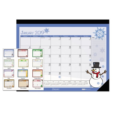 House of Doolittle 100% Recycled Seasonal Desk Pad Calendar, 22 x 17, Illustrated Holiday, (Desktop Calendar Pad)