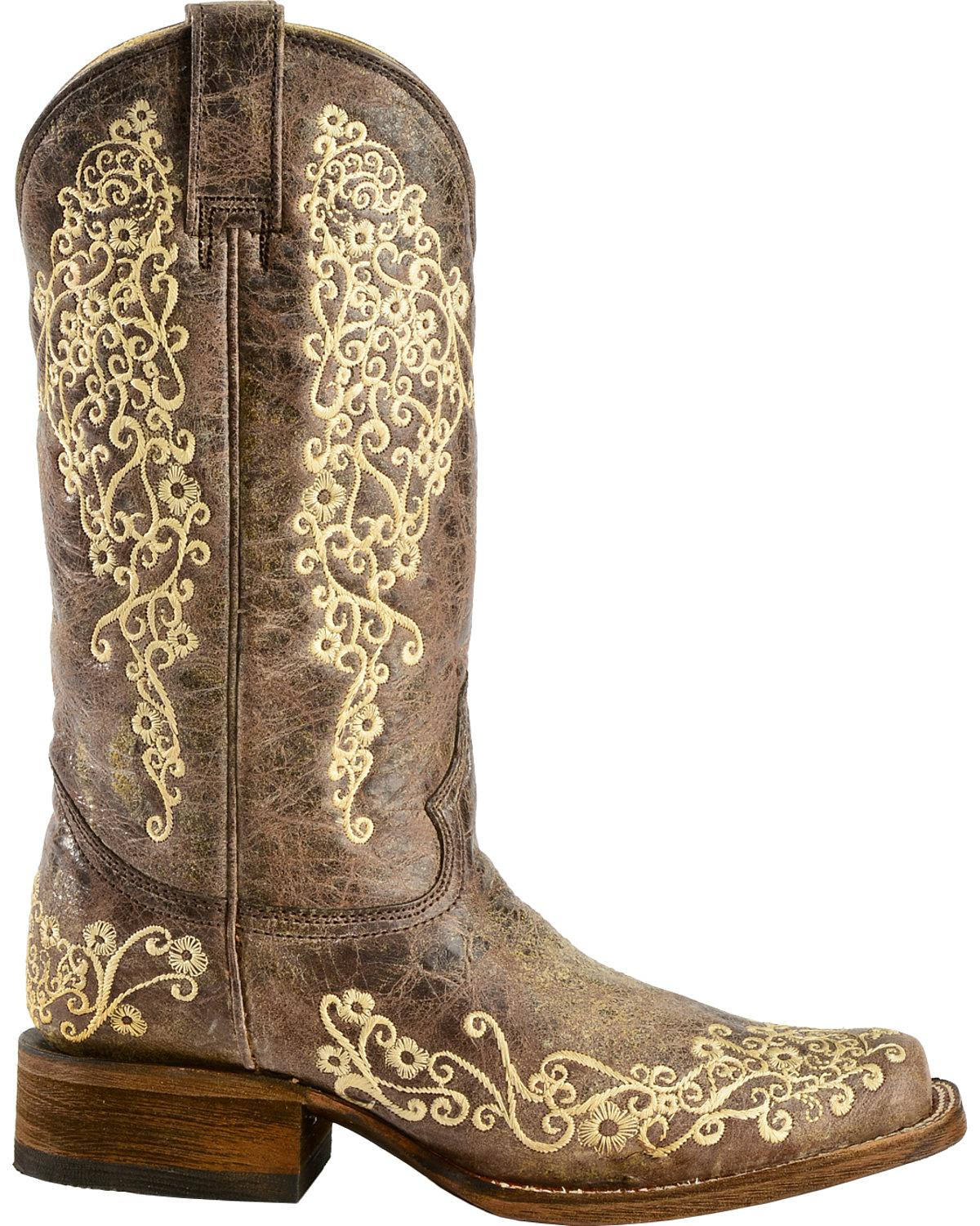 corral crater bone embroidery boot
