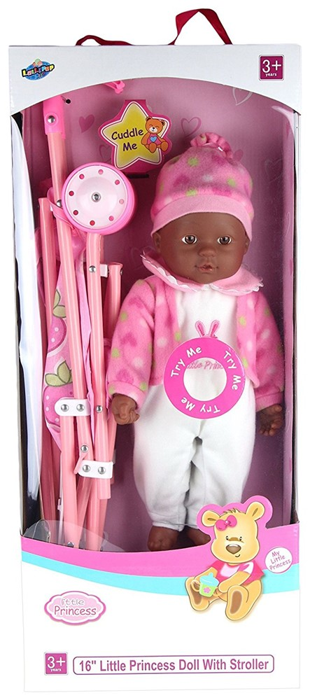 "Lollipop Toys Little Princess African American Doll with Stroller, 16"" L by"