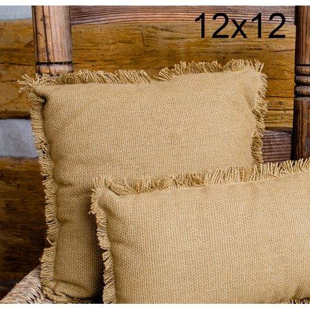 Deluxe Burlap Natural Tan Pillow - 12x12