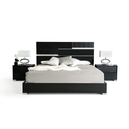 1PerfectChoice Italian Modern Eastern King Size Black Bed Frame With ...