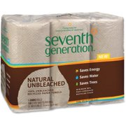 """Seventh Generation Natural Unbleached Paper Towels - 2 Ply - 11"""" X 9"""" - 120 Sheets/roll - Natural - Pulp - Absorbent, Unbleached, Chlorine-free, Fragrance-free, Dye-free, Ink-free, Strong - (13737ct)"""