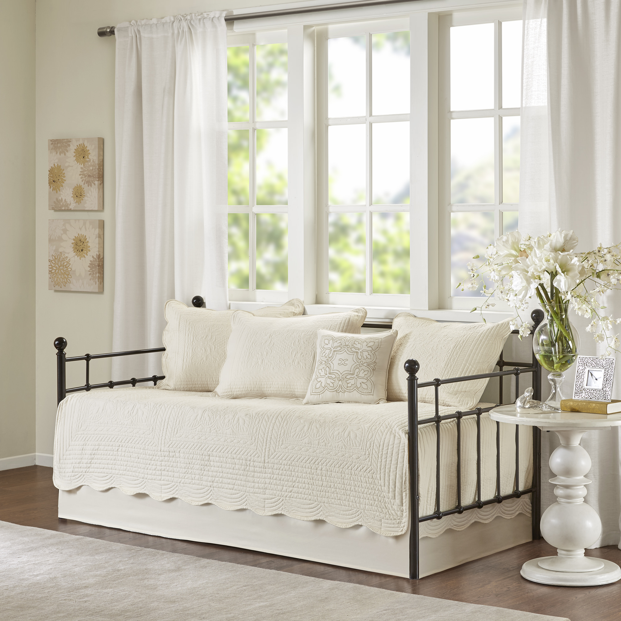 Home Essence Genoa 6 Piece Quilted Solid Daybed Set