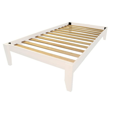 Everlast Solid Wood Bamboo Platform Bed Frame, Twin-size, White ...