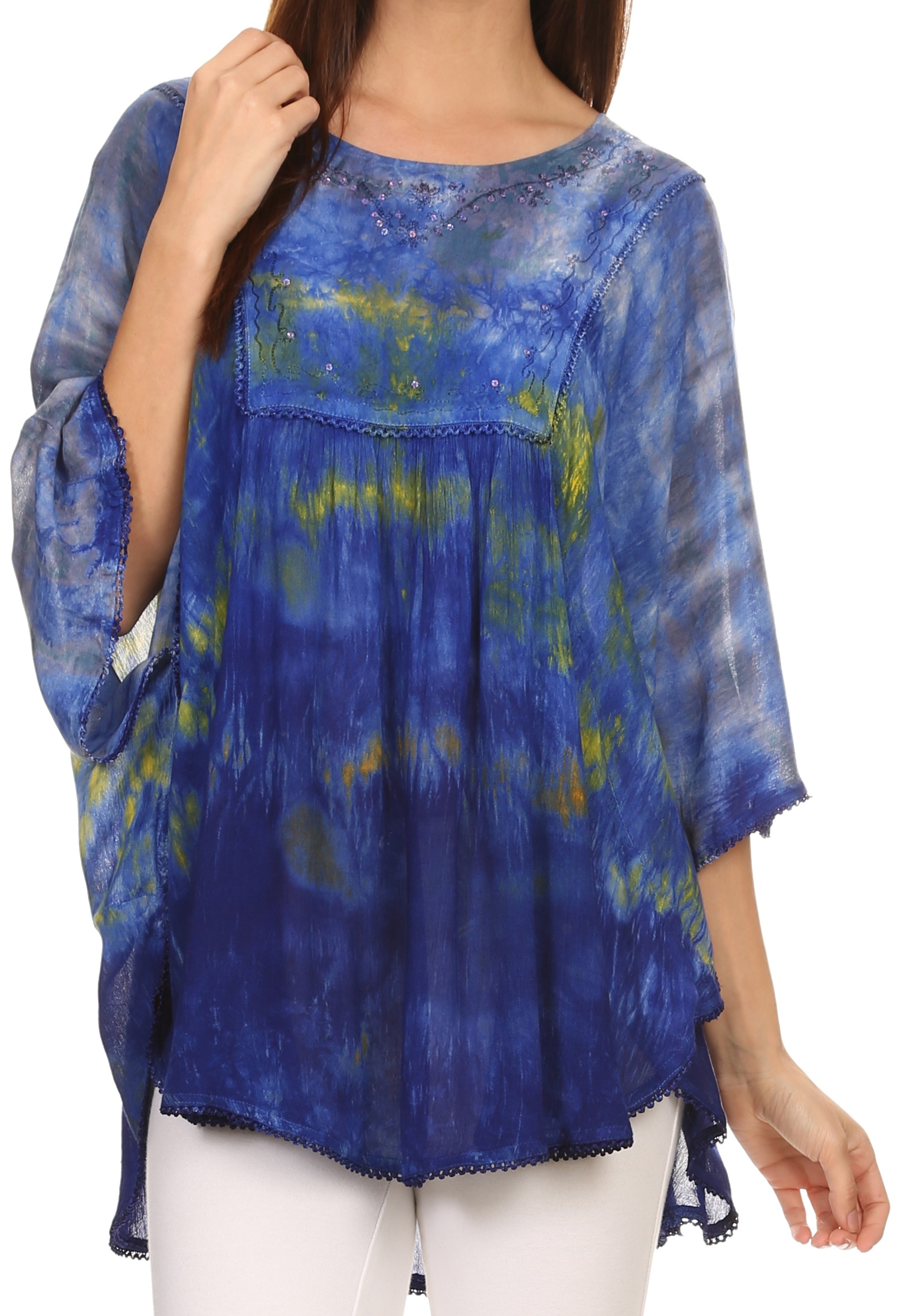 Sakkas Lepha Long Wide Multi Colored Tie Dye Sequin Embroidered Poncho Top Blouse Blue One Size Regular by