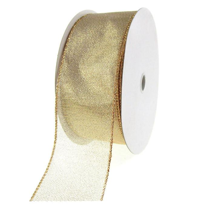 "SHEER SHIMMER CREAM WIRE RIBBON METALLIC GOLD EDGE 1 1//2/"" 5 YARDS~ XMAS,BOWS"