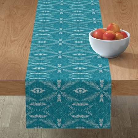 Image of Table Runner Jungle Teal Botanical Geometric Leaf Palm Frond Cotton Sateen