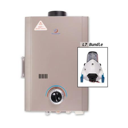 Eccotemp L7-P 1.7 Gallon Point-of-Use Liquid Propane Tankless Water Heater with 41,000 Maximum BTU Input and Flojet -