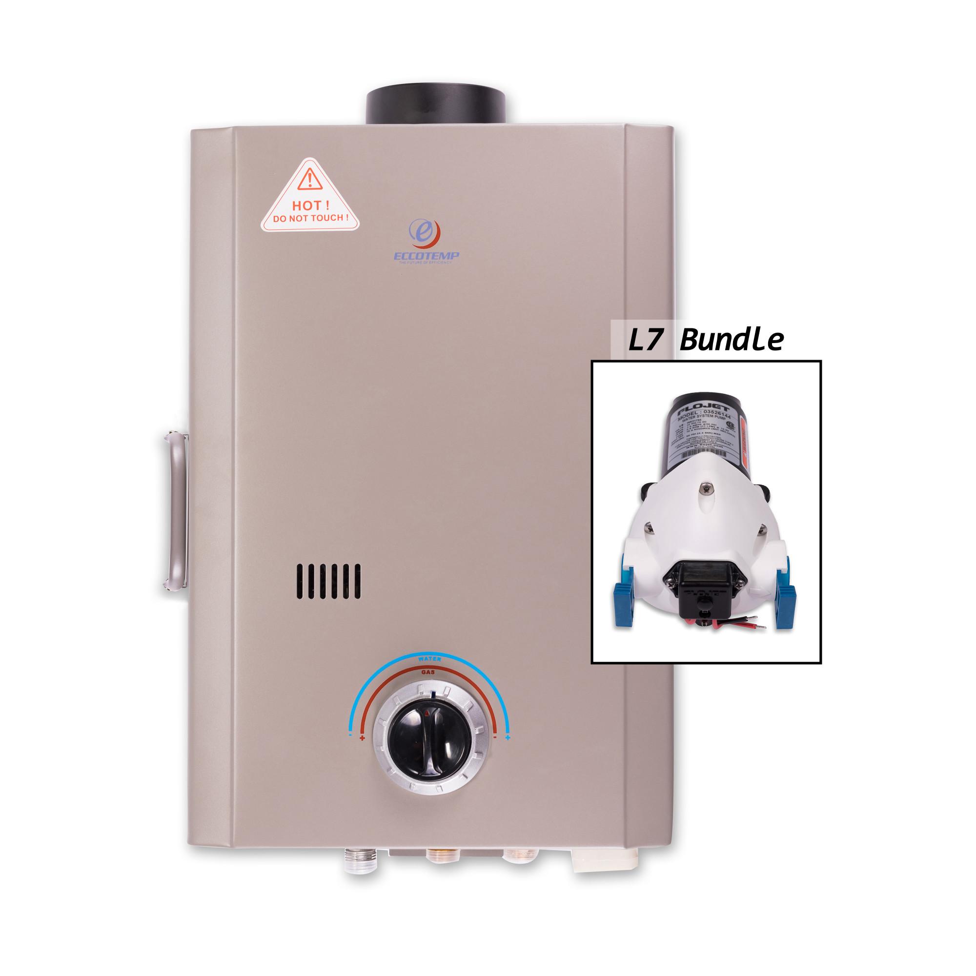 Eccotemp L7-P 1.7 Gallon Point-of-Use Liquid Propane Tankless Water Heater with 41,000 Maximum BTU Input and Flojet Pump