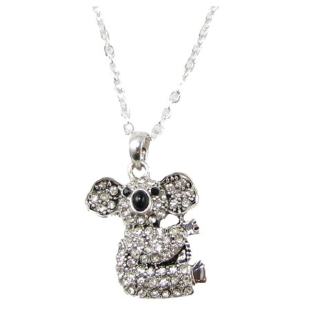 Koala Bear Crystal Charm On Silver Plated Fashion Necklace