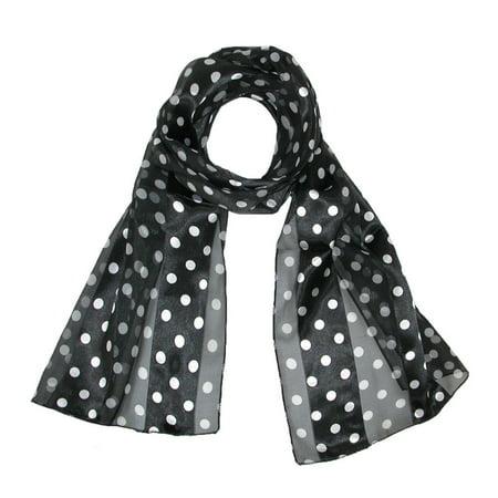 MTL Women's Satin Polka Dot Scarf, Black Black Polka Dot Scarf
