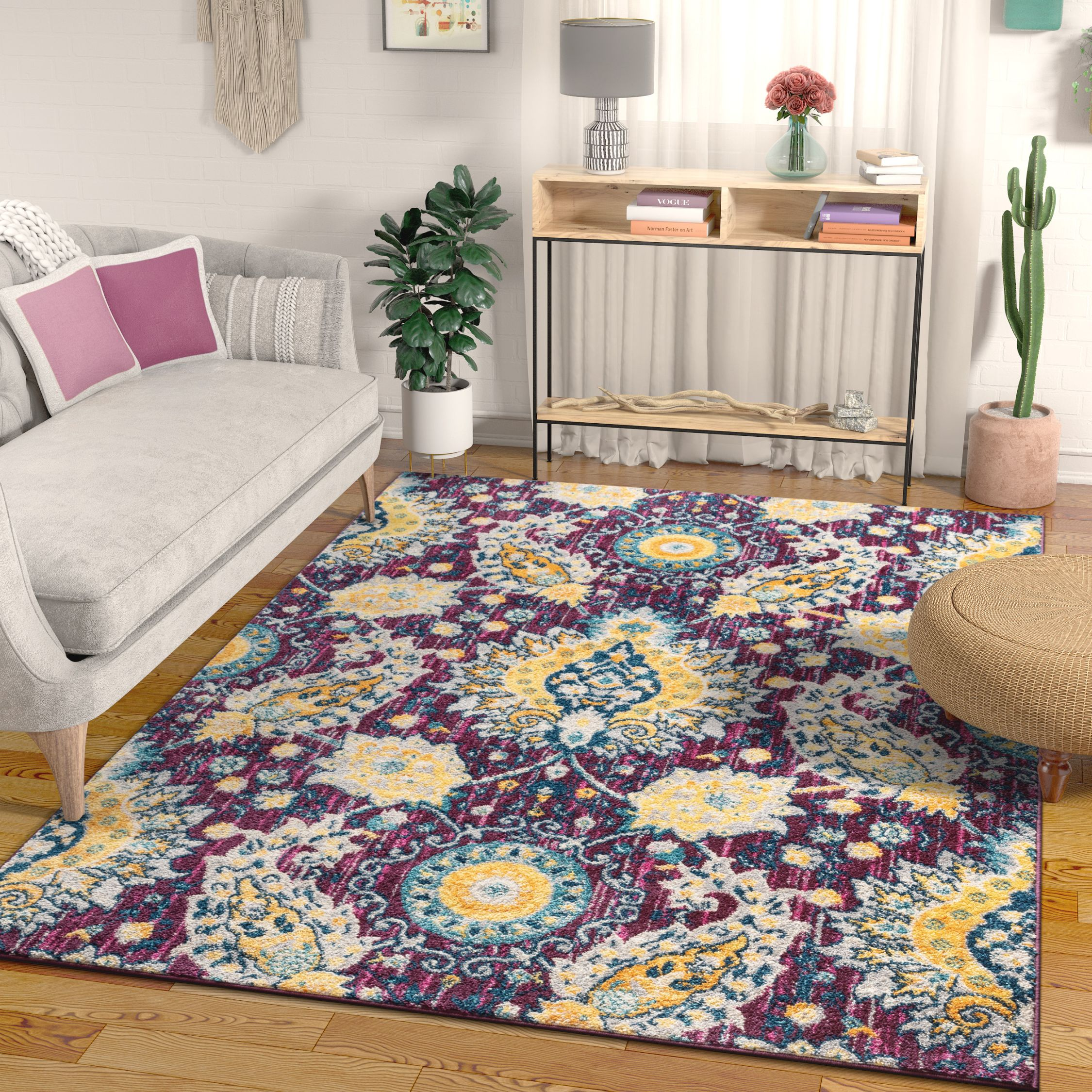 "Well Woven Mila Oriental Medallion Vintage Purple & Yellow Multicolor Area Rug 5x7 (5'3"" x 7'3"")"