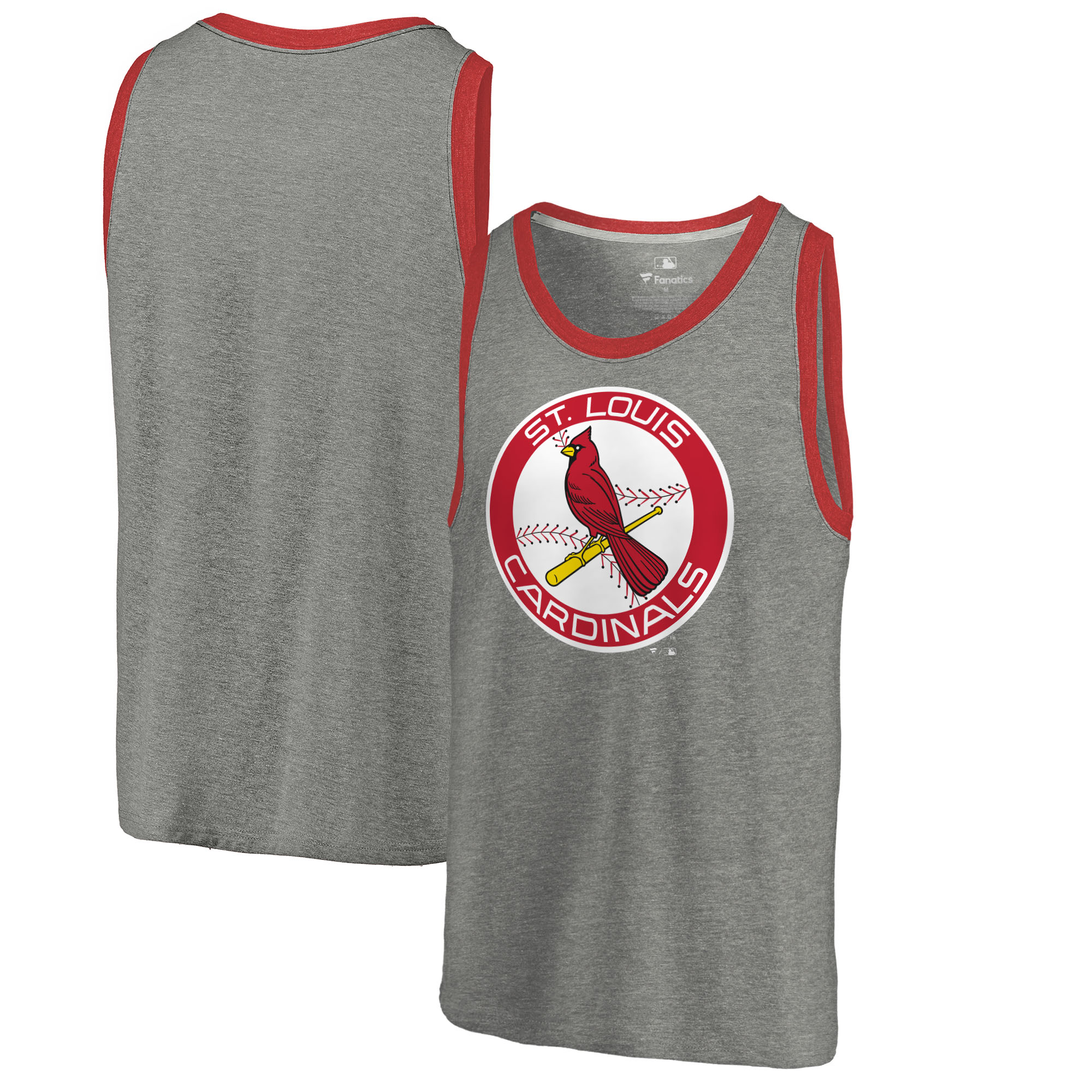 St. Louis Cardinals Fanatics Branded Cooperstown Collection Huntington Tri-Blend Tank Top - Heathered Gray