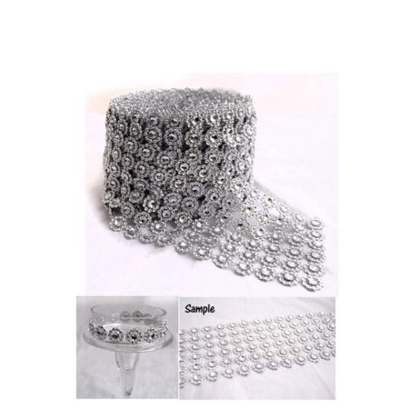 Diamond Flower Mesh 4 Inch X 10 Yards Rhinestone Ribbon Wrap for Wedding Party